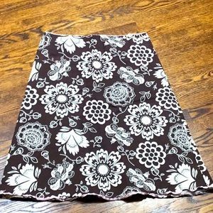 Chocolate brown floral cotton skirt